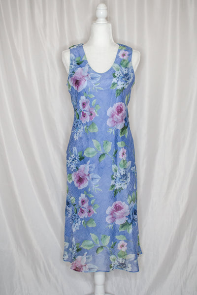 Vintage 90s Purple Floral Dress / S-M