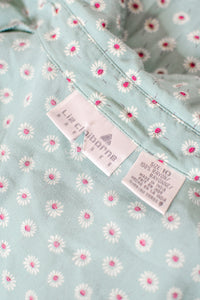 Vintage 90s Seafoam Blue Floral Shirt Dress / S