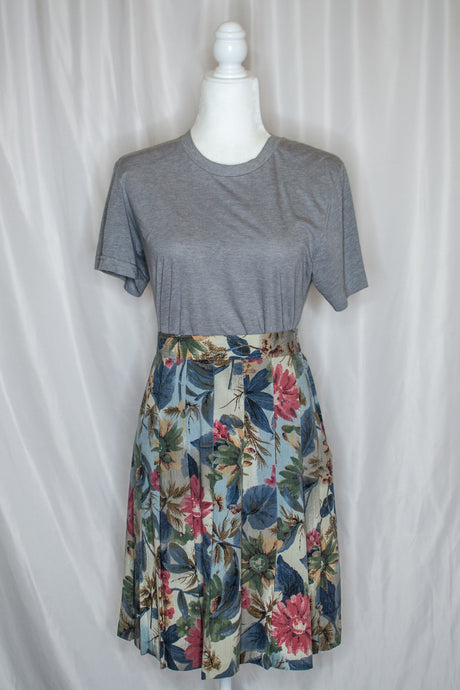 Vintage 80s Blue Floral Pleated Skirt / M