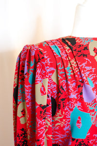 Vintage Red Multicolor Abstract Printed Blouse / S-M