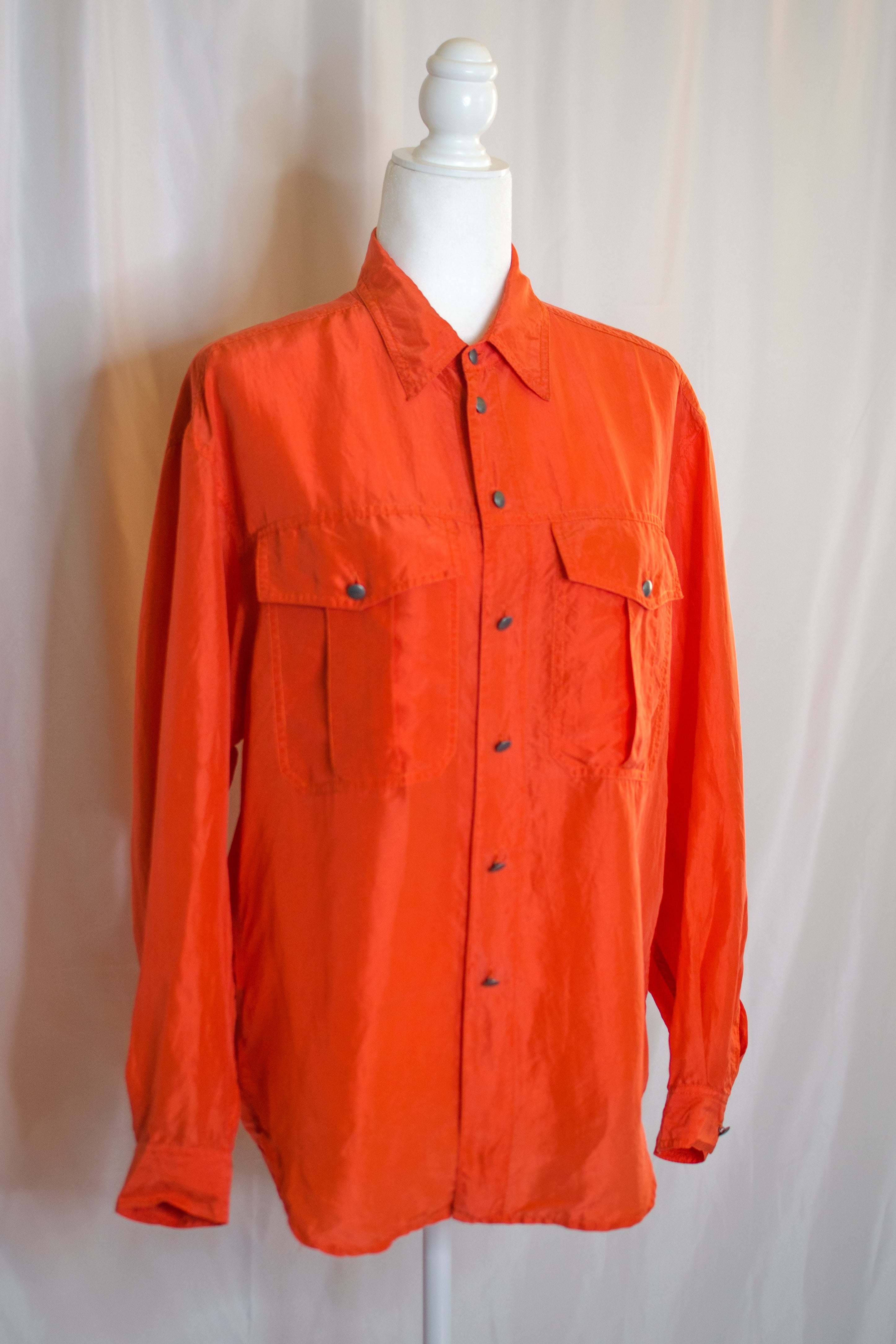 Vintage 90s Orange Silk Button Down Shirt/ S-L