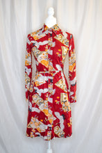 Load image into Gallery viewer, Vintage 70s Red Printed Shirt Dress / XS-S
