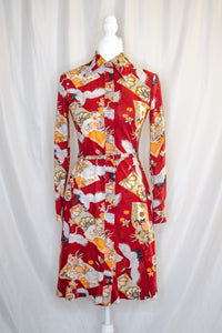 70s Red Printed Shirt Dress / XS-S