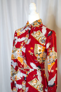 Vintage 70s Red Printed Shirt Dress / XS-S