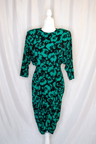 80s Black & Green Floral Dress / XS-S