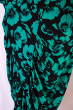 Load image into Gallery viewer, Vintage 80s Black & Green Floral Dress / XS-S