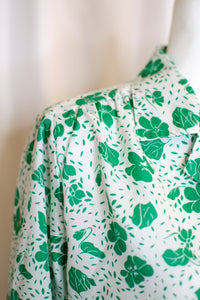 Vintage 80s-90s White & Green Floral Shirt / S-M