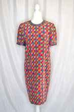 Load image into Gallery viewer, Vintage 80s Rainbow Check Dress / S