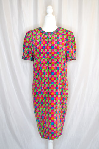 80s Rainbow Check Dress / S