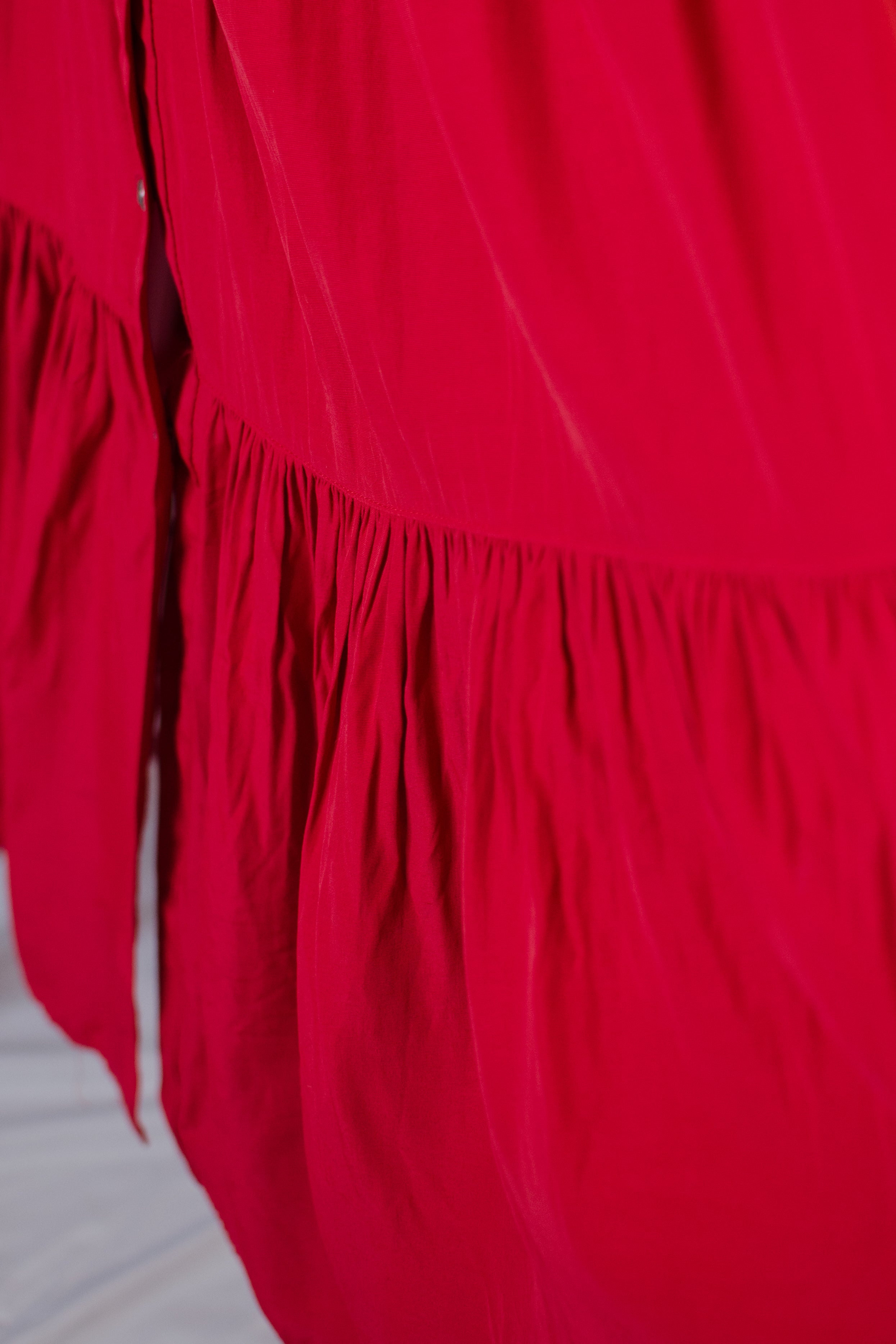 Vintage 90s Red Maxi Skirt / S-M