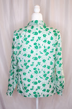 Load image into Gallery viewer, Vintage 80s-90s White & Green Floral Shirt / S-M