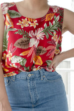 Load image into Gallery viewer, 90s Red Tropical Floral Tank / S-L