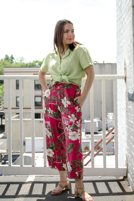 80s Pink Tropical Print Pants / S-M