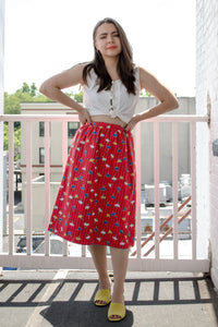 70s Red Floral Reversible Full Skirt / S-M