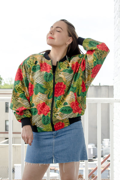 80s-90s Tropical Print Bomber Jacket / S-M