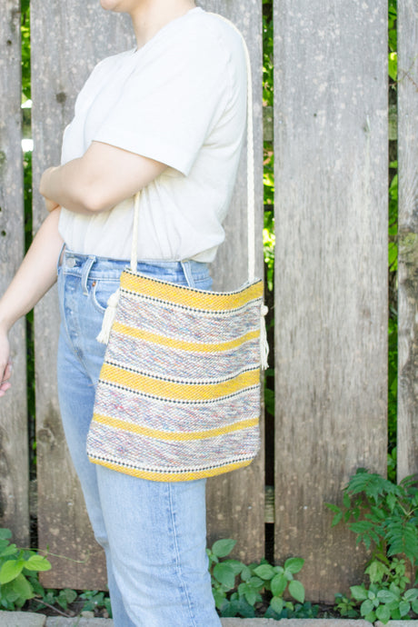 Handmade Yellow Striped Woven Crossbody Bag