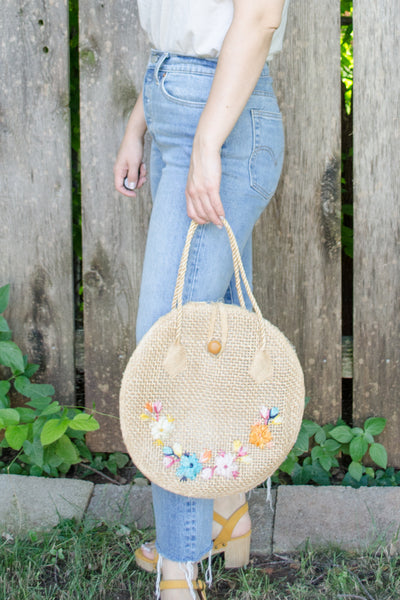 Vintage Philippines Round Straw Bag