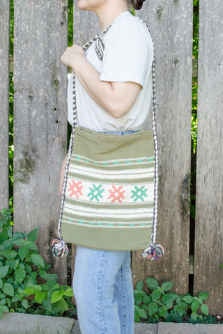 70s Green Crochet Crossbody Bag