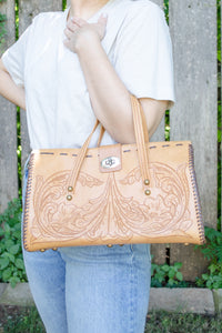 Vintage Brown Carved Leather Bag