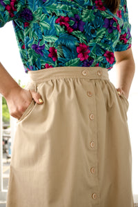 Vintage Beige Button Skirt / S