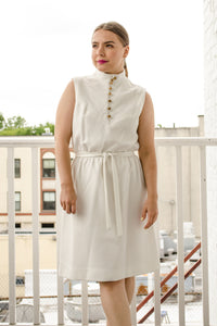 Vintage 60s White Knit Dress by Alison Ayres / M