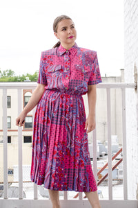 Vintage Fuchsia Paisley Dress / S-M