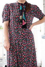 Load image into Gallery viewer, Vintage 80s Black Floral Dress / S