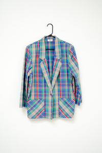 80s-90s Blue Plaid Blazer / M-L