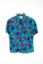 Load image into Gallery viewer, Vintage 80s - 90s Blue Tropical Floral Shirt / XS-M