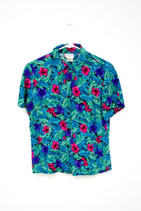 Vintage 80s - 90s Blue Tropical Floral Shirt / XS-M