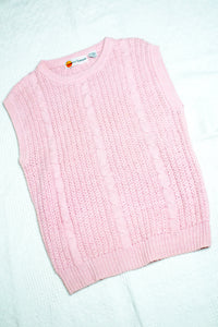 Vintage 80s Pink Cable Knit Sweater Vest / S-M