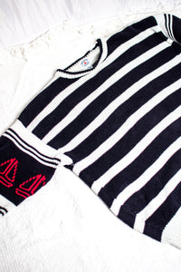 90s Navy Striped Sweater / S-XL