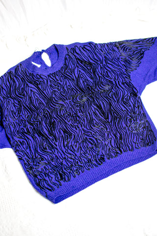 80s Indigo Embroidered Sweater / S-L