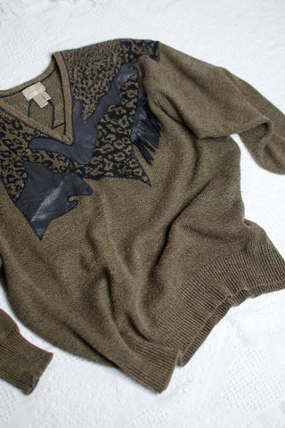 80s Brown Fringe Sweater / S-XL