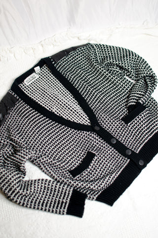 80s Black and White Knit Cardigan / S-XL