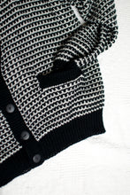 Load image into Gallery viewer, Vintage 80s Black and White Knit Cardigan / S-XL