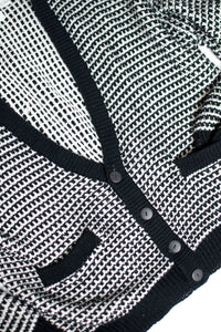 Vintage 80s Black and White Knit Cardigan / S-XL