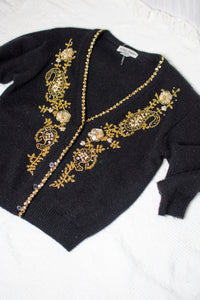 Vintage 90s Black Gold Sequined Cardigan / S-M