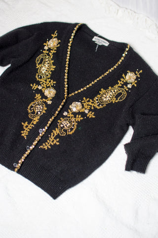 90s Black Gold Sequined Cardigan / S-M