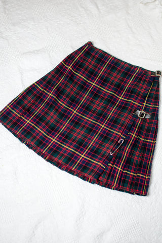 70s-80s Christmas Plaid Skirt / S