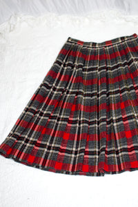 Vintage 70s Grey and Red Skirt / XS-S