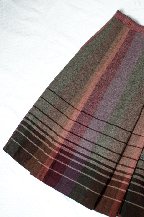 70s Purple and Brown Striped Skirt / XS-S
