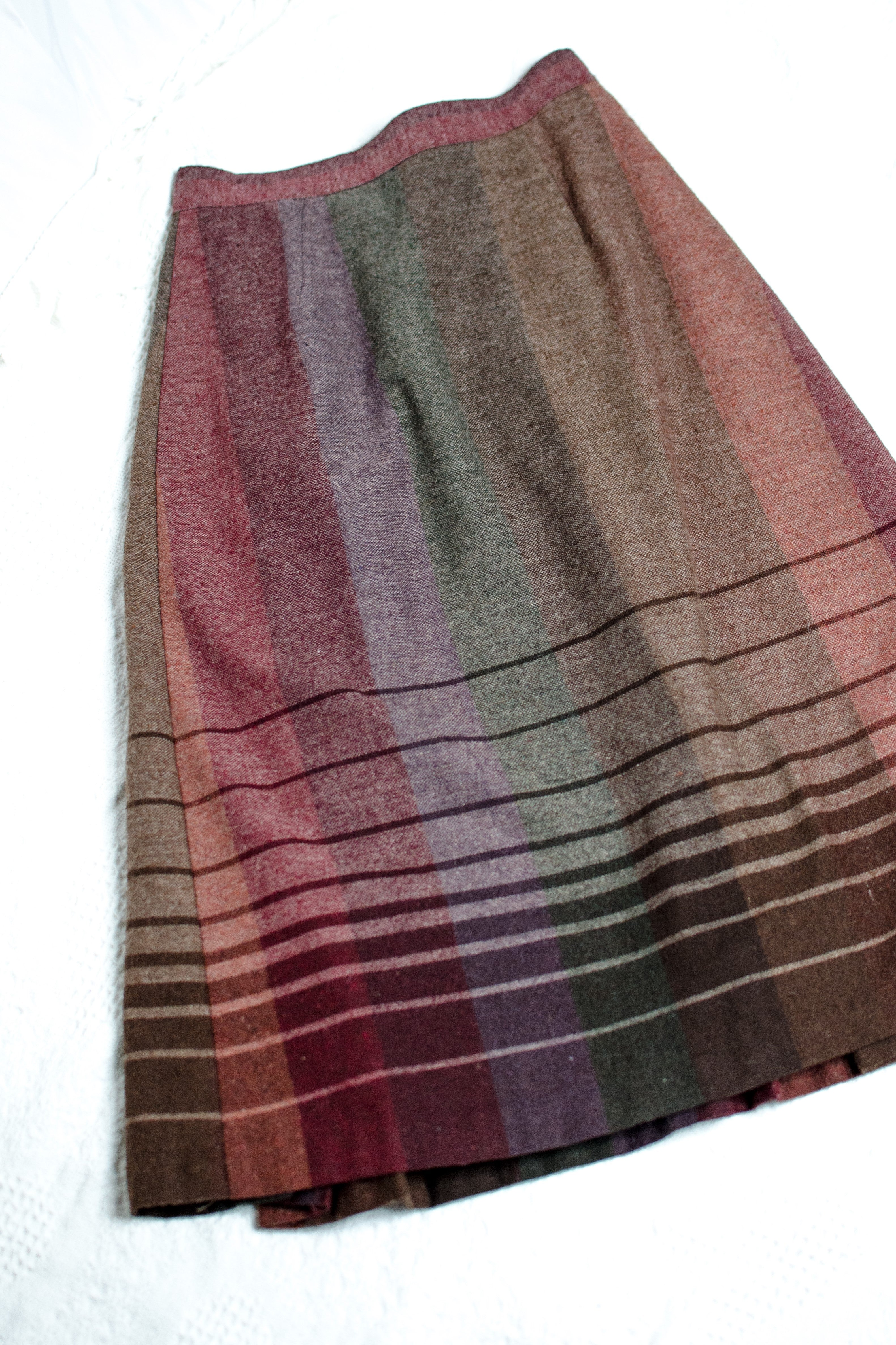 Vintage 70s Purple and Brown Striped Skirt / XS-S