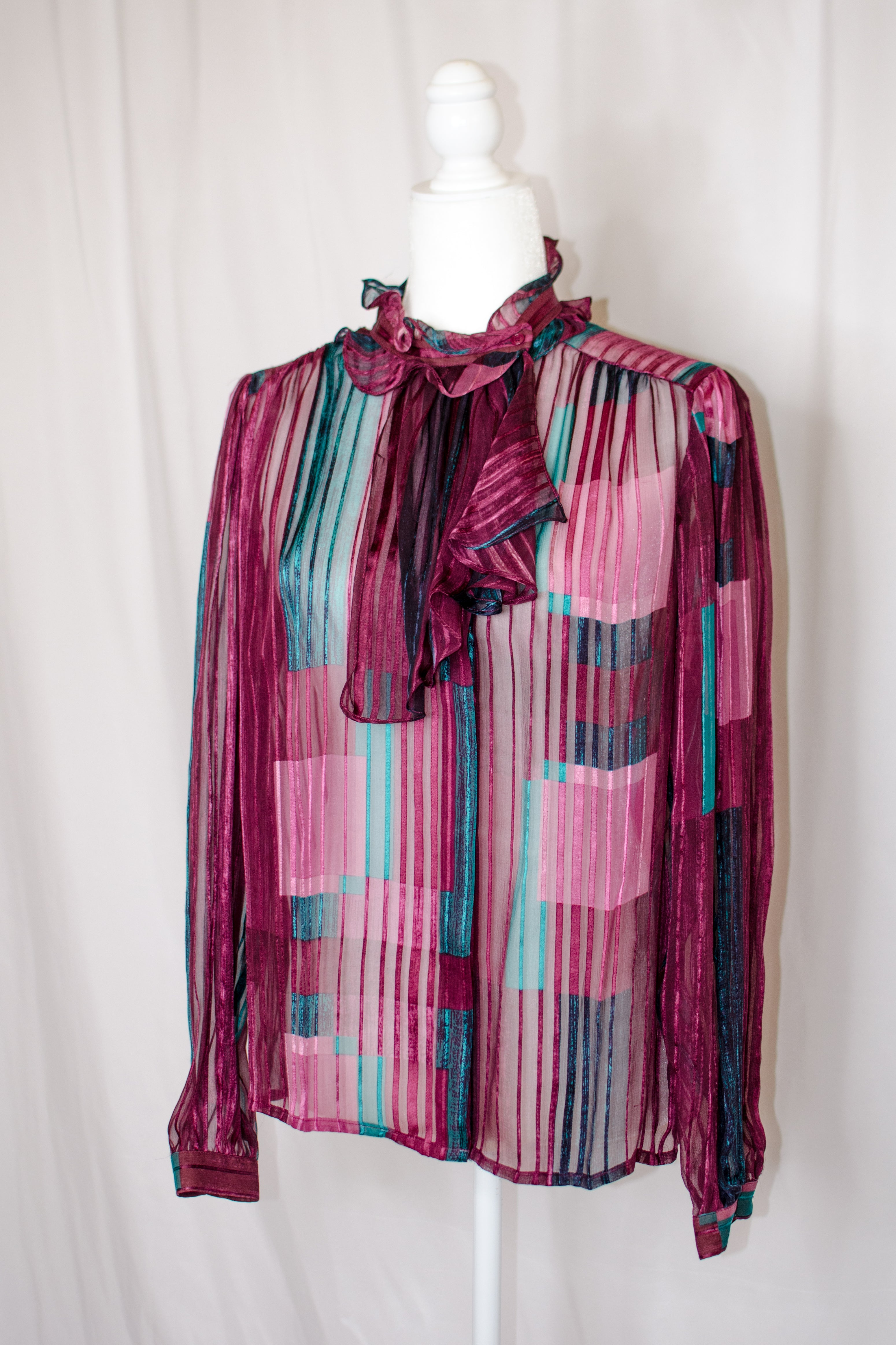 Vintage 70s Purple & Teal Ascot Collar Shirt / S