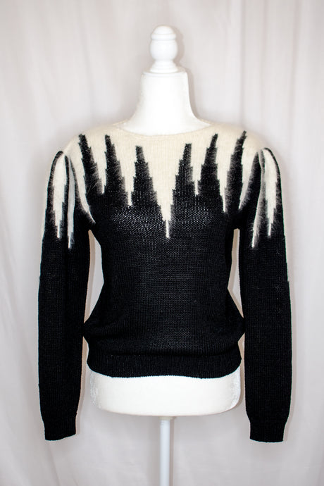 Vintage 80s Black and White Sweater / S-M