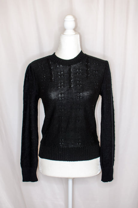 Vintage Black Cable Sweater / XS-S