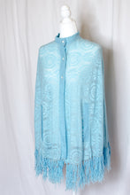 Load image into Gallery viewer, Vintage 60s Blue Crochet Shawl / XS-S