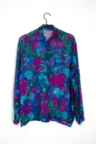 90s Blue Sheer Floral Shirt by Express Paris / S-M