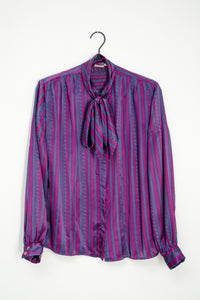 Vintage 70s Purple Striped Bow Blouse / S