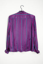 Load image into Gallery viewer, Vintage 70s Purple Striped Bow Blouse / S